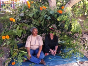 Michelle and Estelle in Sukkah--for Jewish Sukkot